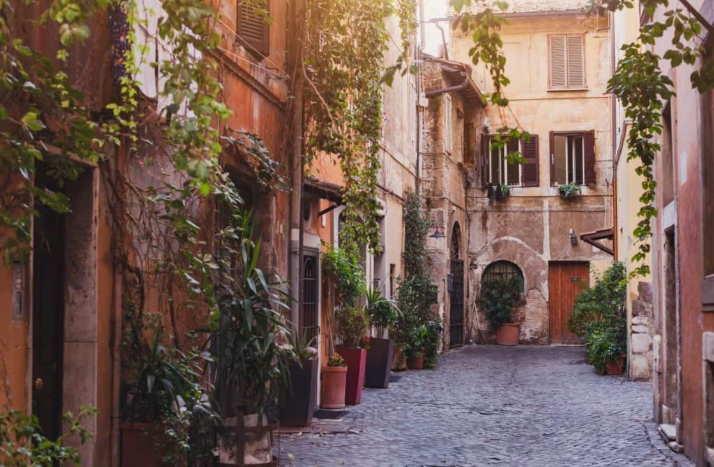 The neighborhood of Trastevere, Rome, Italy