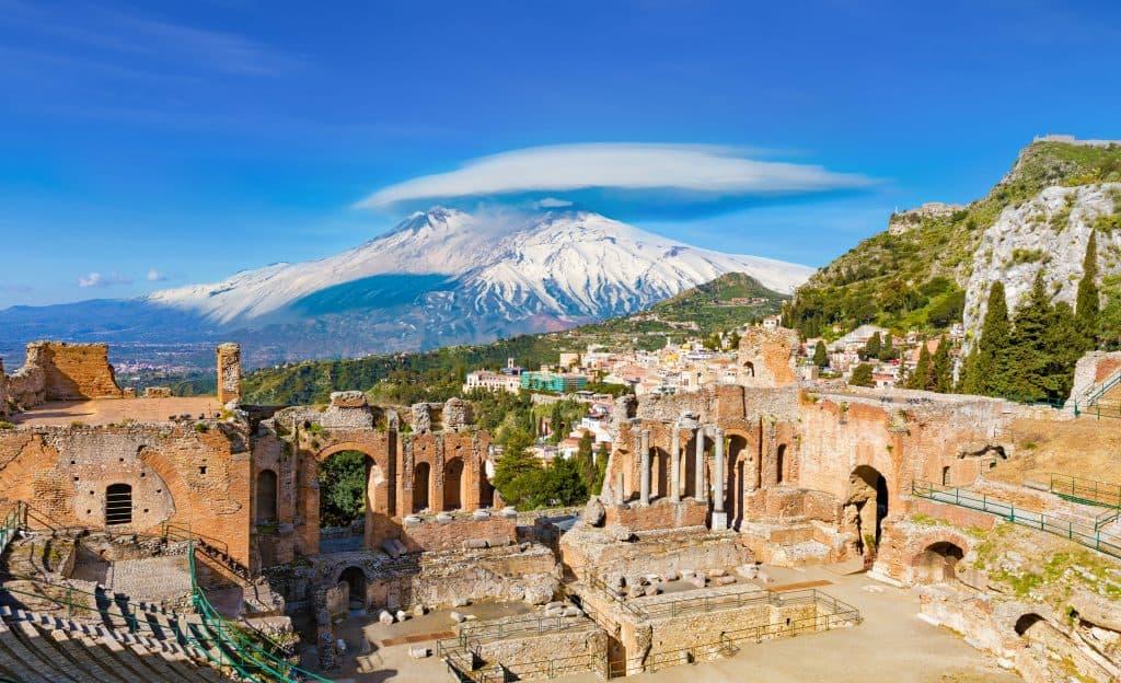 Etna Volcano, Greek theatre in Taormina, Island of Sicily, Italy