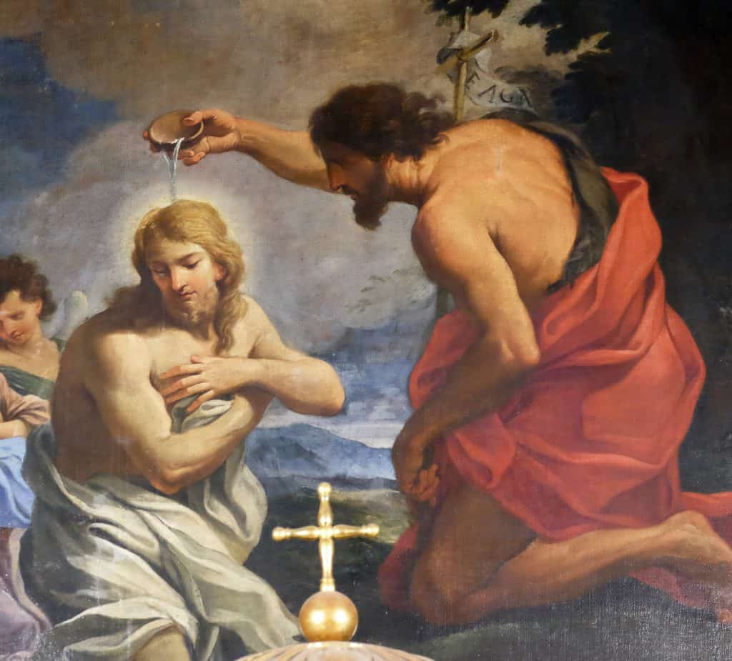 The Baptism of Christ in Chapel of St John the Baptist, Rome Italy