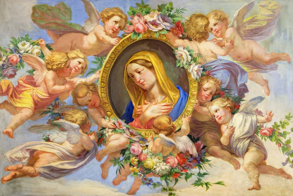Virgin Mary fresco in Cattedrale di San Giovanni Battista, Turin, Italy