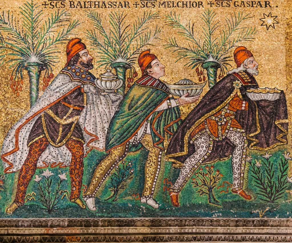 mosaic of Magi in Catherdal Sant Apollinare Nuovo, Ravenna, Italy