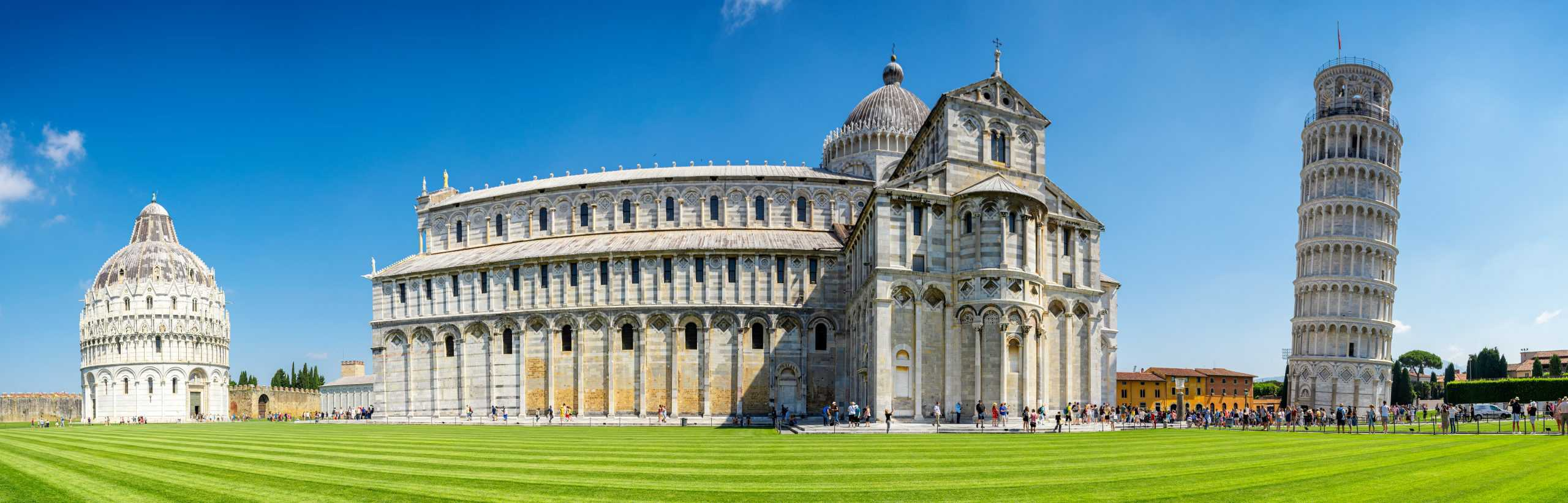 Panorama of leaning tower of Pisa and Cathedral