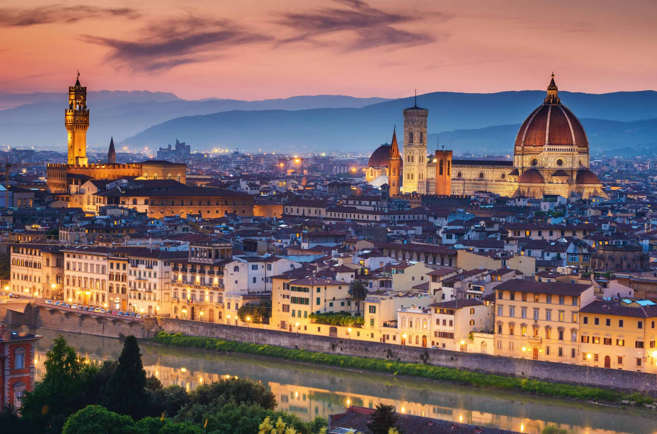 Sunset in Florence Italy in May, late spring, the best time to visit
